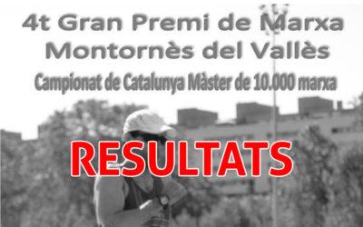 Resultats 4t Gran Premi de Marxa Campionat de Catalunya 10.000m. i Marxa Montornès del Vallès.